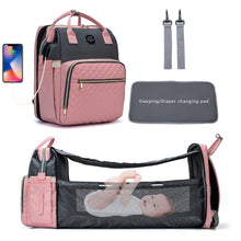 Load image into Gallery viewer, New Design 3 in 1 LeQueen USB Diaper Bag Baby Crib Foldable Sleeping Bed, with Changing Pad, Sunshine Shade