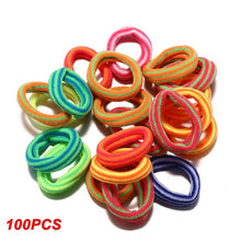 Load image into Gallery viewer, Hot 100 pcs/lot kids hair rope Hair Accessories Scrunchy Elastic Hair Bands Girls decorations Headbands Rubber Band Wholesale