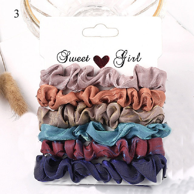Korea Solid Color Wrinkle Elastic Hair Bands For Women Simple Hair Scrunchies 6PCS/sets Ponytail Holder