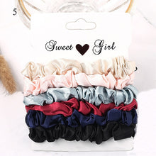 Load image into Gallery viewer, Korea Solid Color Wrinkle Elastic Hair Bands For Women Simple Hair Scrunchies 6PCS/sets Ponytail Holder