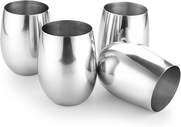 Set of 4 Stainless Steel Glass Drinkware