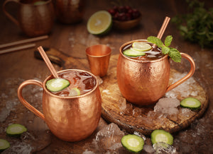 Copper Moscow Mule Mugs Hammered Finish 16 Oz Jigger, 4 Copper Straws, Brush and 4 Wooden Coasters