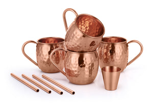 COPPER MOSCOW MULE MUGS WITH SHOT GLASS AND STRAWS AND COASTER