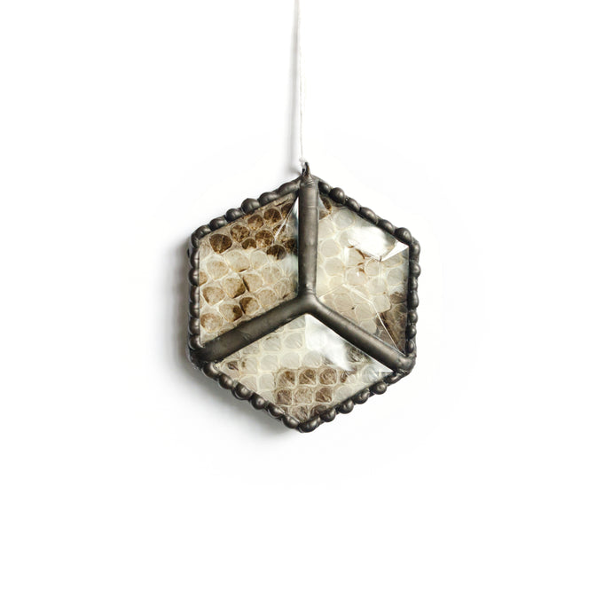 Six-sided beveled stained glass ornament featuring ethically-sourced shed rattlesnake skin and decorative lead border.