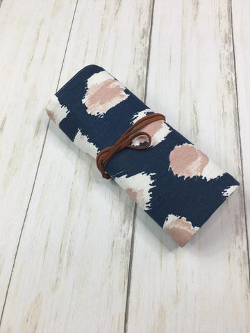 Crochet Hook Roll Small Flap Navy and Mauve Print