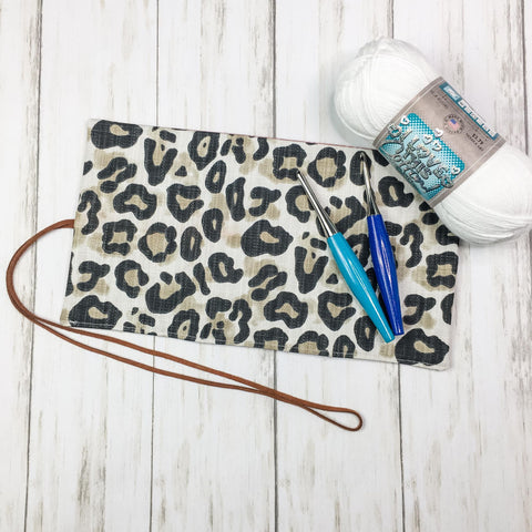 Crochet Hook Roll Small Flap Cheetah Print