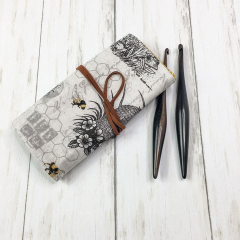 Crochet Hook Roll Small Flap Bee Print
