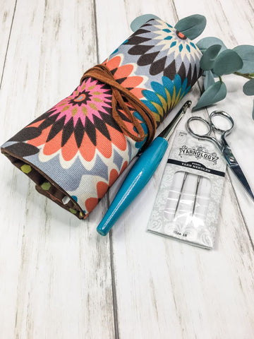 Crochet Hook Roll Small Flap Flower Power