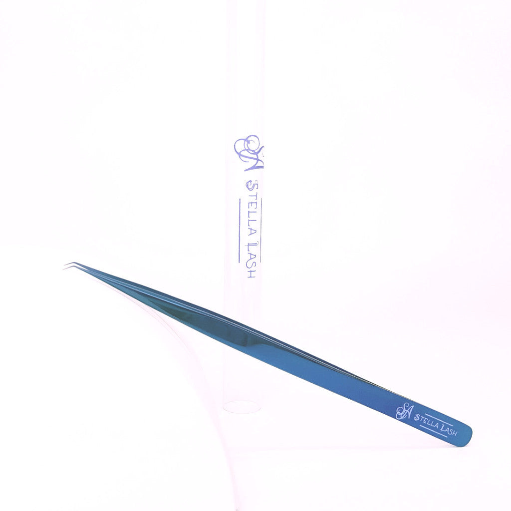 Volume Tweezers 3mm Tip 14cm Long Blue Plasma 45 degree angle L Type - The Lash Shop @ StellaLash