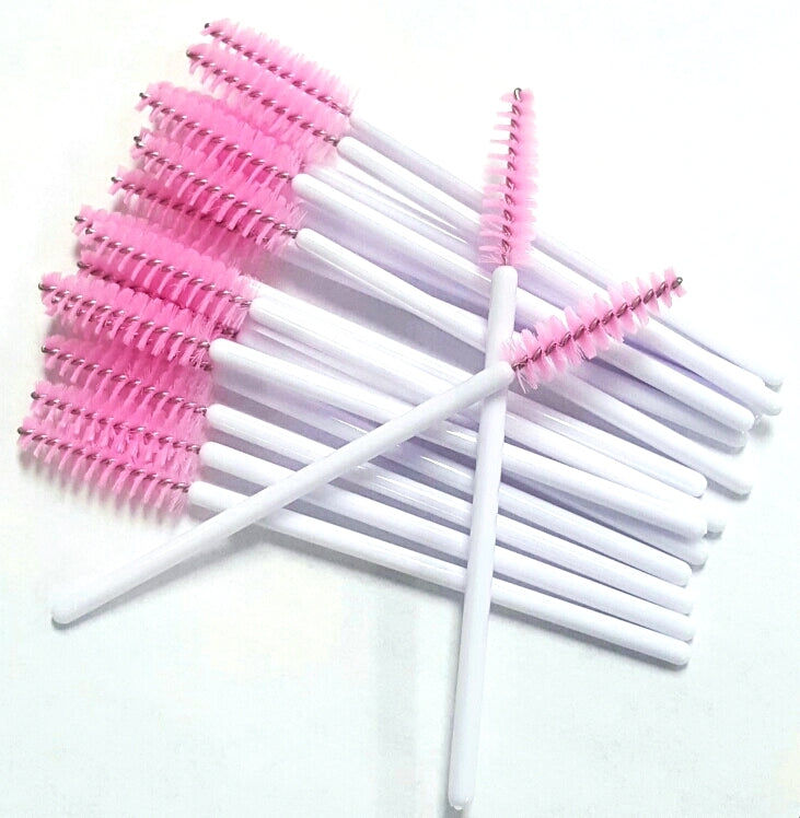 Disposable Mascara Wands LIGHT PINK Head with White Handle - The Lash Shop @ StellaLash