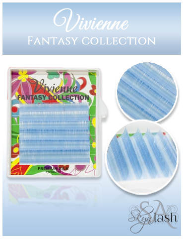 Vivienne Fantasy TOPAZ BLUE Colors .10 C CURL MIXED size 8mm - 13mm Volume Mini Trays - The Lash Shop @ StellaLash