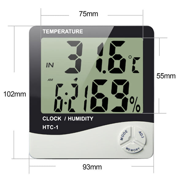 Hygrometer White with Clock & Alarm - Temperature & Humidity Reading