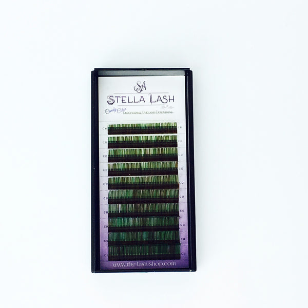 StellaLash Candy Color Lashes C .07 Mix Tray Green Brown