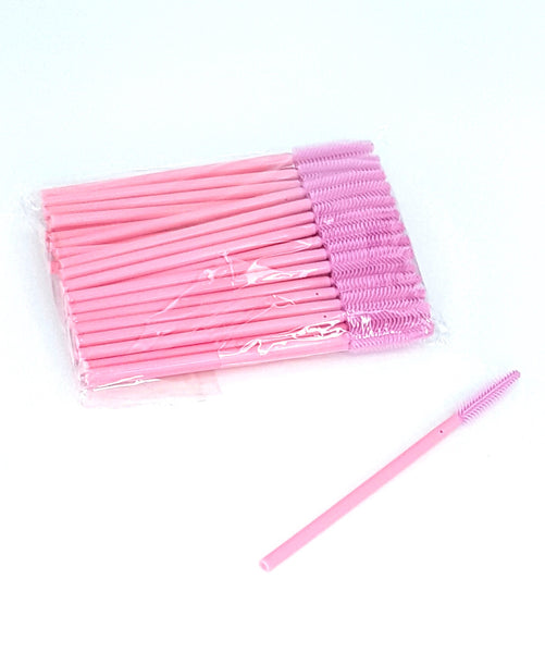 Disposable Mascara Wands Silicone LIGHT PINK W/PINK HANDLE
