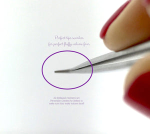 Volume Tweezers 3mm Tip Long 14cm Thin Silver 45 Degree Angle L Type - The Lash Shop @ StellaLash