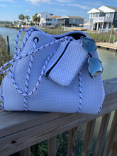 Load image into Gallery viewer, White Perforated Neoprene Tote With Navy Interior