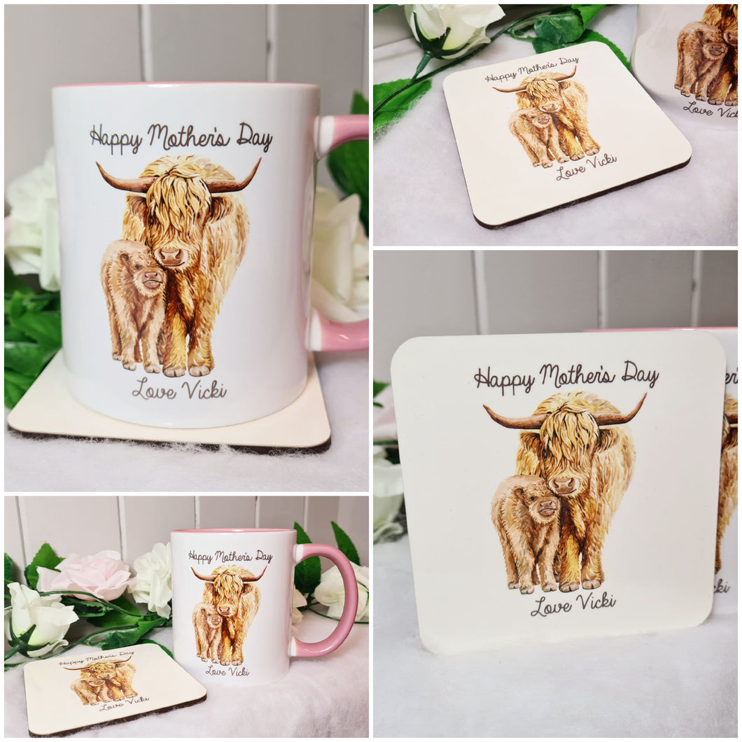 Highland Cattle Mother's Day Mug and Coaster Set - Made For You Gifts