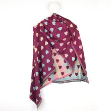 Load image into Gallery viewer, Reversible cherry and pastel jacquard heart scarf