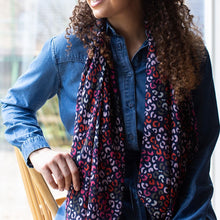 Load image into Gallery viewer, Navy blue, red and pink print recycled scarf
