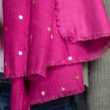 Load image into Gallery viewer, Vibrant pink scarf with rose gold stars