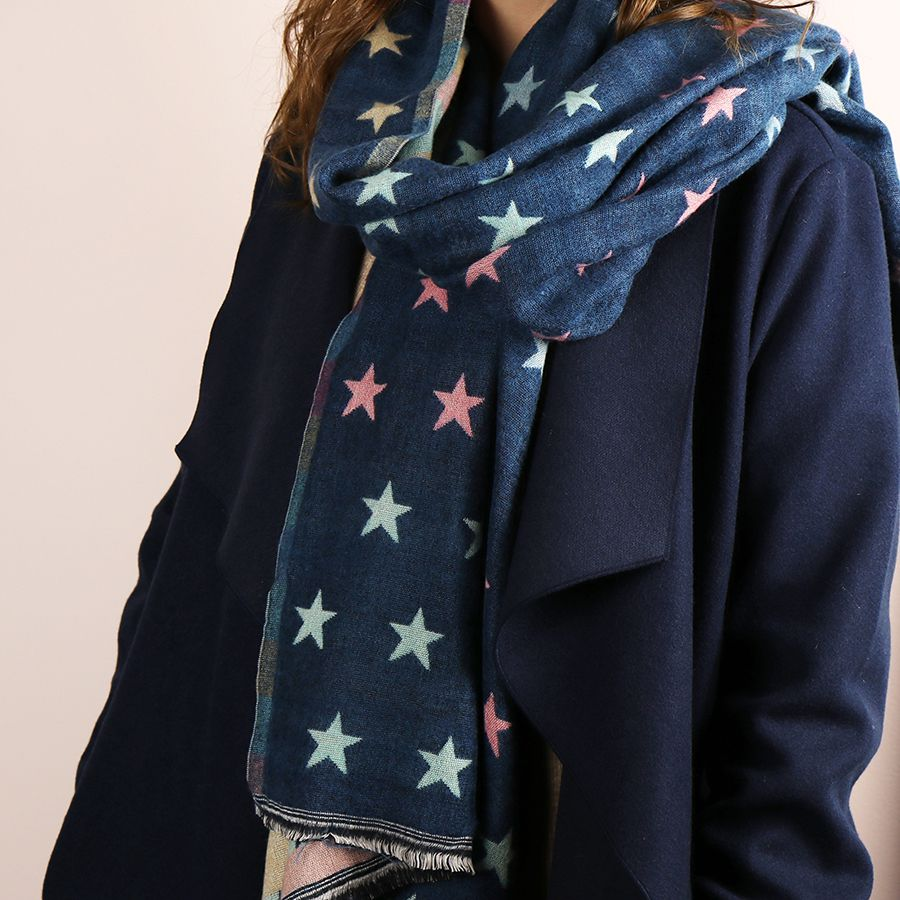 Blue and pastel reversible jacquard star scarf