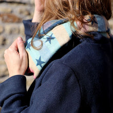 Load image into Gallery viewer, Blue and pastel reversible jacquard star scarf