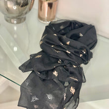 Load image into Gallery viewer, Black baby bee rose gold metallic scarf