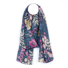 Load image into Gallery viewer, Recycled blue mix floral garden print scarf