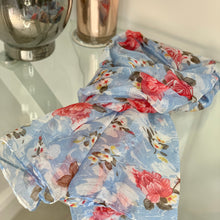 Load image into Gallery viewer, Blue Ditsy Floral Print Scarf