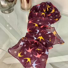 Load image into Gallery viewer, Mulberry recycled scarf with swallows and stars