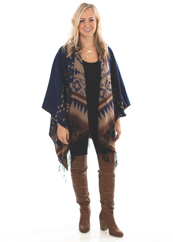 Blue Tribal Poncho