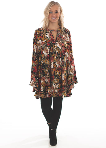 Bell Sleeve Floral Tunic