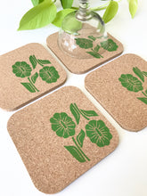 Load image into Gallery viewer, Green floral design on cork coaster set