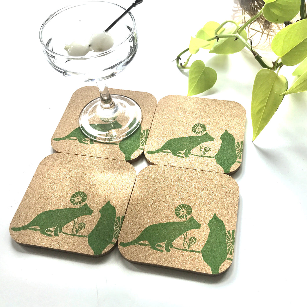 Two Cats Cork Coaster Set