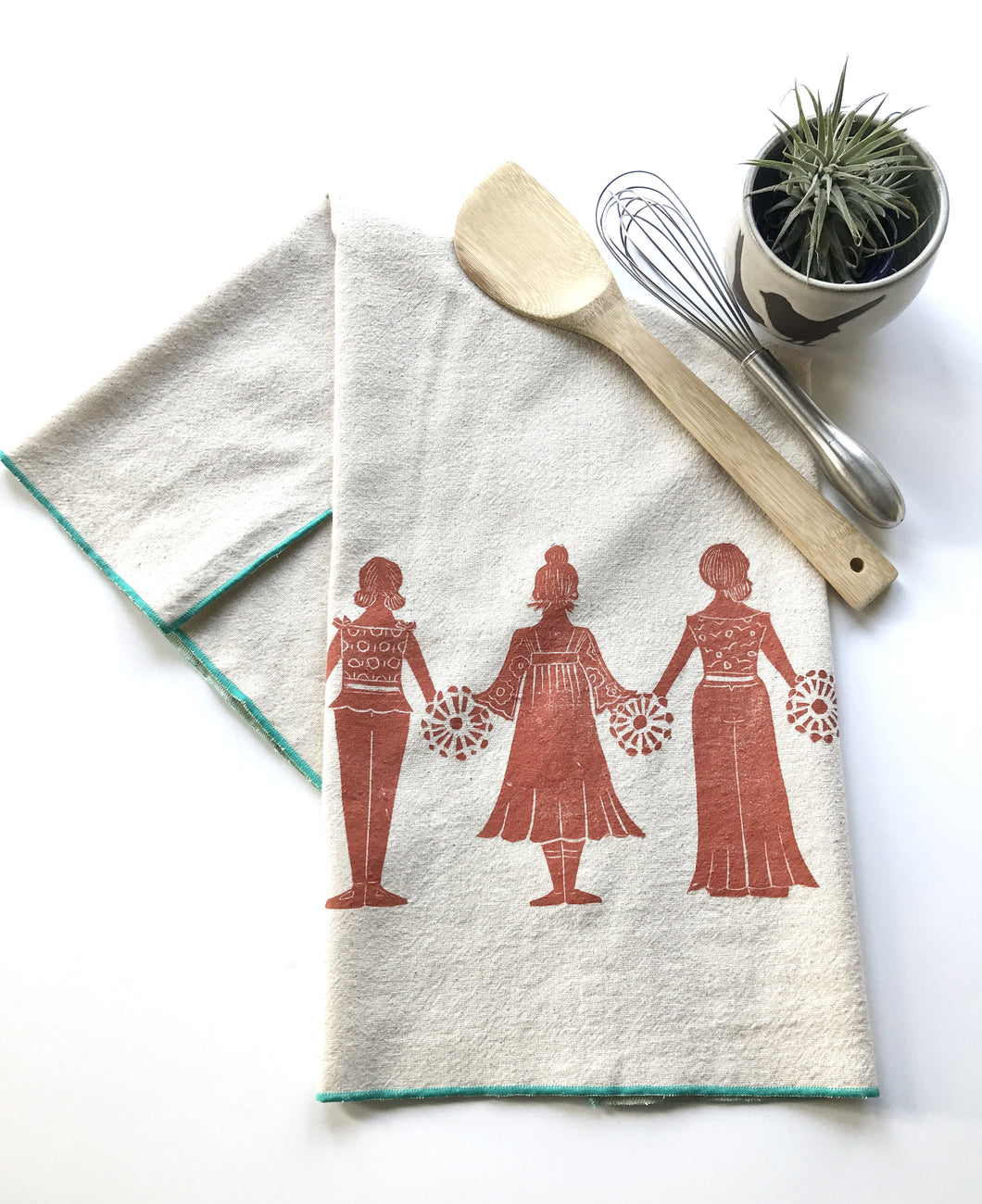 Paperdolls Block Printed Tea Towel