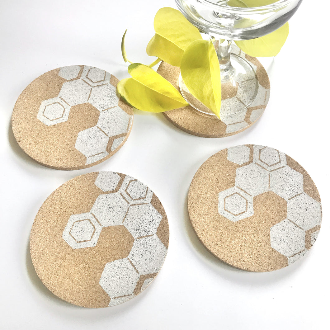 Hexagon Cork Coaster Set