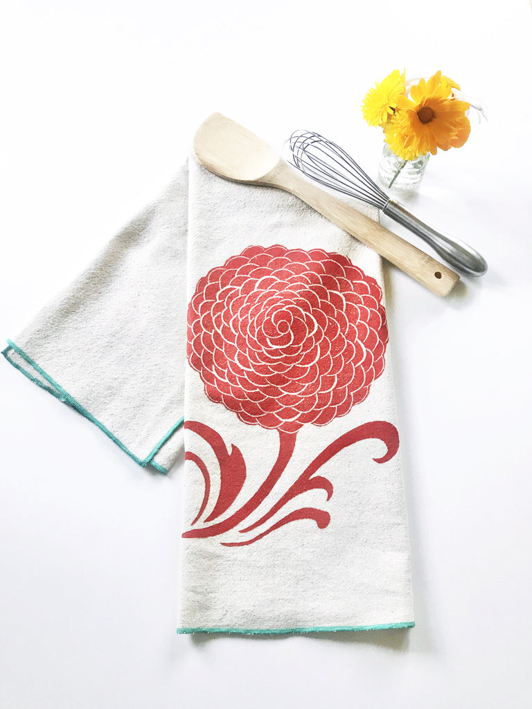 Mum Block Printed Tea Towel