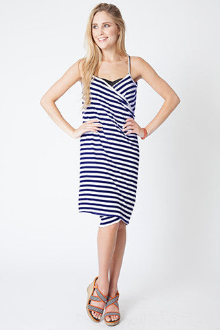 Convertible Beach Wrap Dress in Navy Stripe