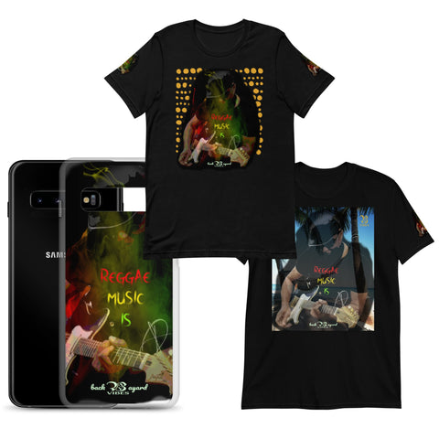Image showing one phone case and two t-shirts displaying colourful prints.