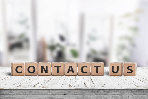 Blocks with the word contact us written