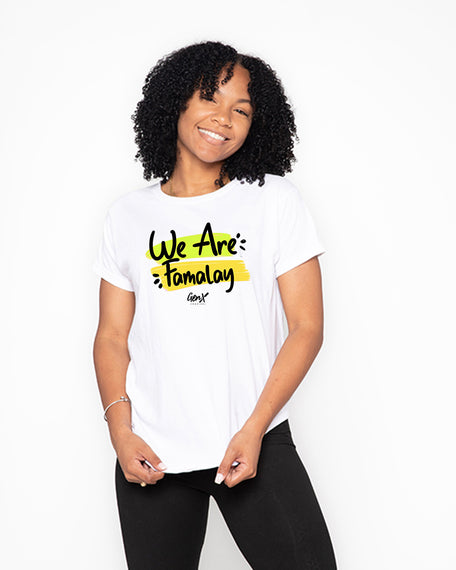 White We are Famalay Tees <br><h2><strong>30 Entries</strong></h2>