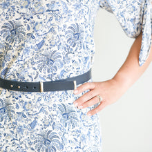 Load image into Gallery viewer, No-Buckle Blue Leather Belt with push studs - Iragazi