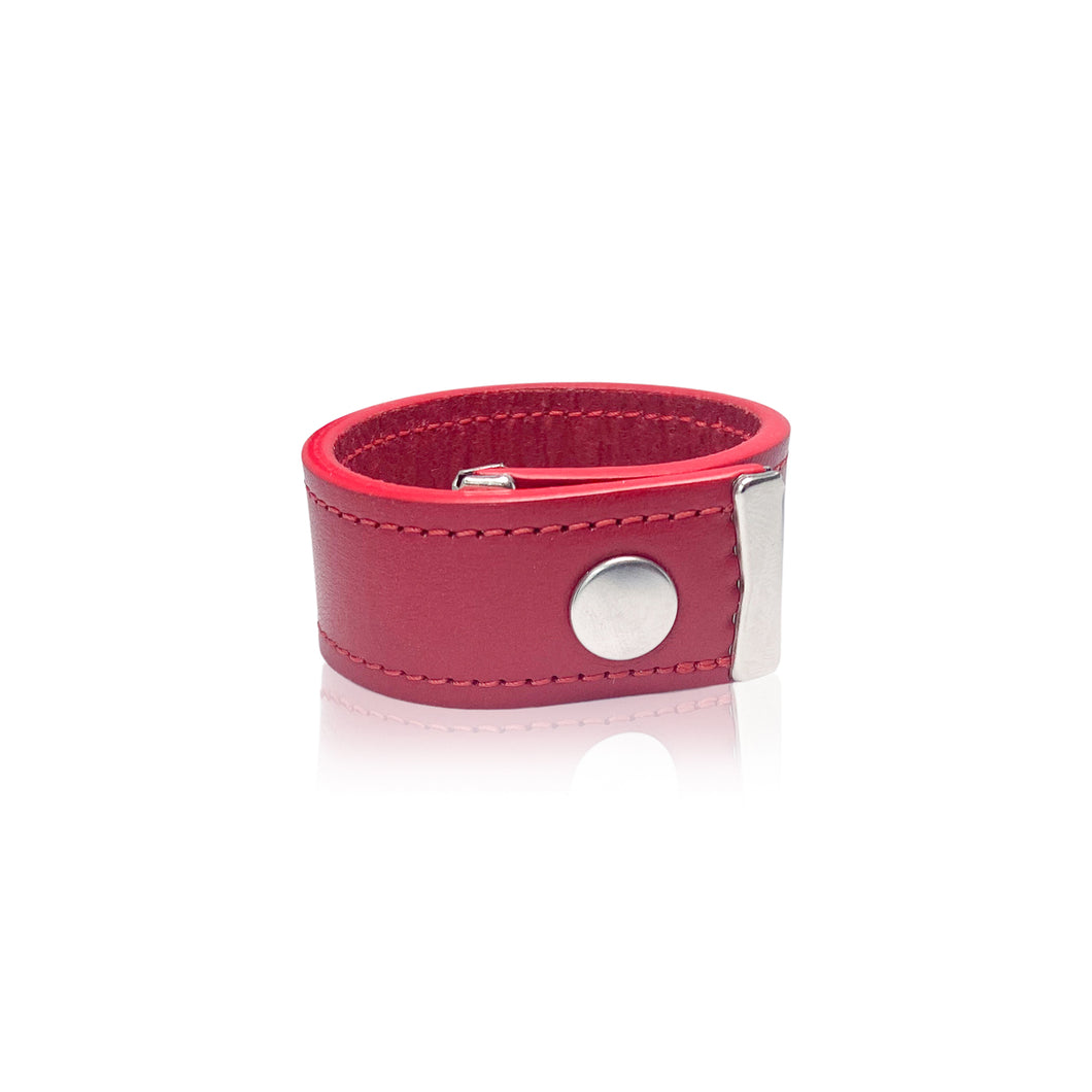 Red Leather Bracelet - Genuine Vegetable Tanned Leather  - Iragazi