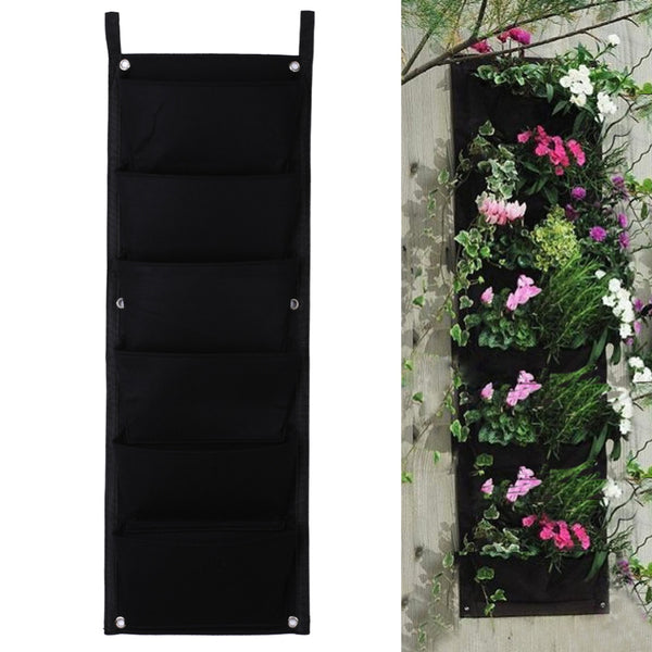 New Arrival 6 Pocket Hanging Vertical Felt Garden Planter Indoor Outdoor Wall Hanging Herb Pot Decor Grow Container Bags
