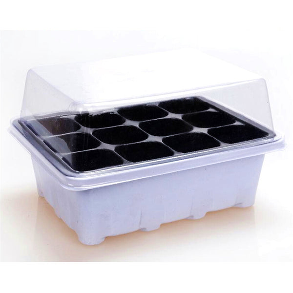 Nursery Trays Lids Durable 12 Cells Hole Nursery Pots Plant Seeds Grow Box Tray Insert Propagation Seeding Case Flower pot