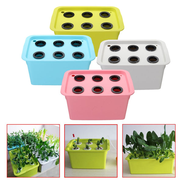 Hydroponic Grow System Static Water Incubator Box Nursery Pots Planter 220V-240V 50Hz 6 Holes Home Garden Tools Supplies 4 Color
