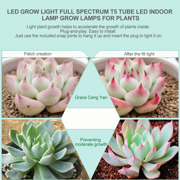 ICOCO 5pcs/set LED Grow Lights Full Spectrum T5 Tube Indoor Plant Hydroponic System Greenhouse LED Grow Plants Lamps Kits Sale
