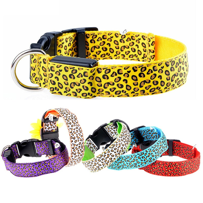 Multi-Color Leopard L.E.D Collar