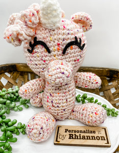Speckled unicorn stuffie