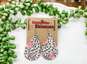 Cheetah and rose print teardrop earrings